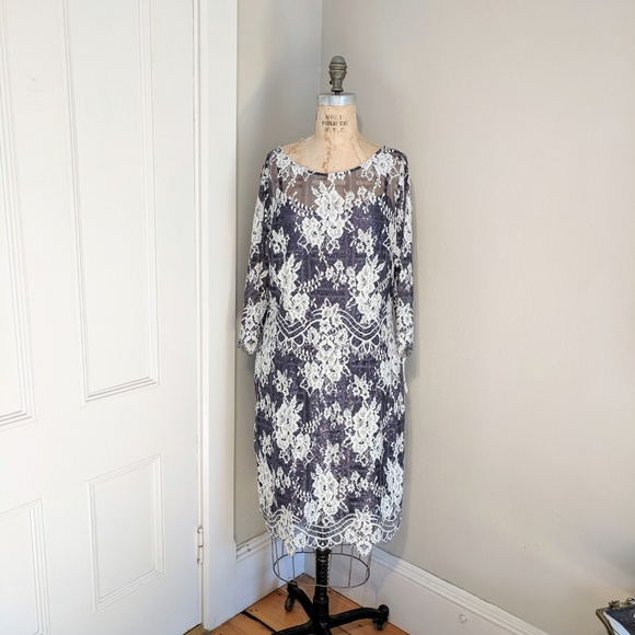 Kay Unger Dresses & Skirts - NWT Kay Unger Illusion Sheer Sleeve Shift Dress